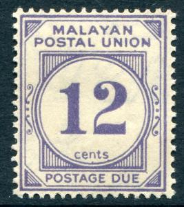 Malaya Federation J11 Mint VLH 1936 12c blue violet.  NO per item S/H fees