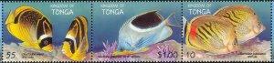Tonga MNH Strip 1008 Butterfly Fish Marine Life 1998