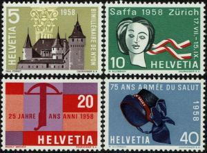 Switzerland 365-68  MNH - Castle Crossbow (1958)