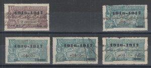 Portugal, Gerais, Barata 880/917 used. 1916 General Revenues, 5 different
