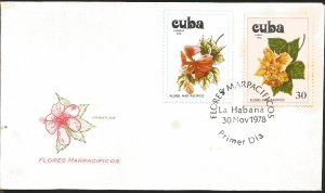 V) 1978 CARIBBEAN, FLOWERS OF THE PACIFIC, CUBA, VARIOUS SPECIES, BLACK CANCE...