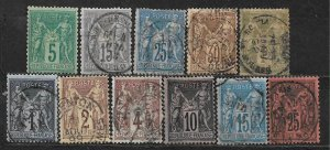 COLLECTION LOT OF 11 FRANCE 1876+ CV + $ 44
