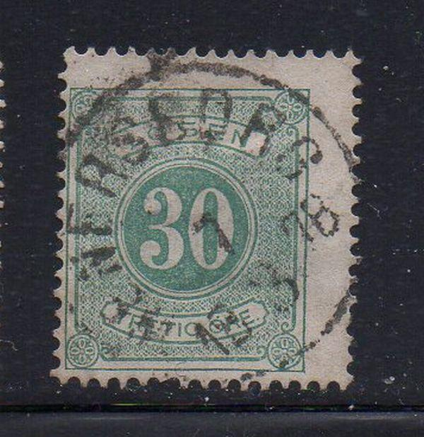 Sweden Sc J9 1874 30 ore postage due stamp used