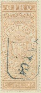 DEPENDENCIAS ESPAÑOLAS - 1868 Sello Fiscal (GIRO) 6 Escudos - usado