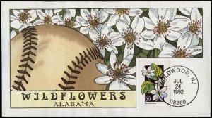 Collins Handpainted FDC Wildflowers: Alabama Rue Anemone, Baseball (7/24/1992)