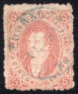 Argentina, 1867 Rivadavia, 6th. print perforated, fine, rare PMK.