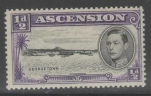 ASCENSION SG38 1944 ½d BLACK & VIOLET p13½ MTD MINT