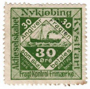 (I.B) Denmark Cinderella : Nykjøbing Coastal Shipping - Parcels 30 Øre
