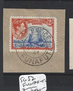 GILBERT AND ELLICE ISLANDS (P1804B) KGVI 2/- SG 52 PIECE FUNAFUTI SON VFU