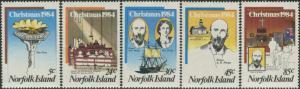 Norfolk Island 1984 SG347-351 Christmas methodist set MNH