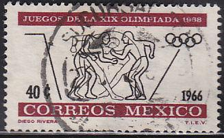 Mexico 975 Hinged Used 1966 Olympic Wrestling