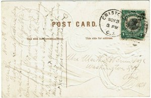 Canal Zone 1919 Cristobal cancel on Panama COIN postcard to the U.S.