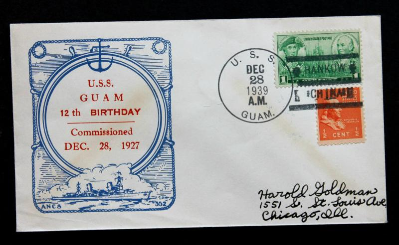 US Stamp Sc # 790 & 803 USS Guam Naval Cover Only US Ship To Surrender in WWII.