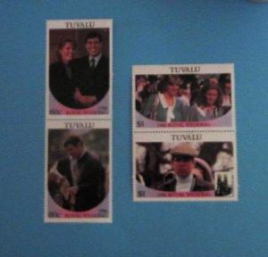 Tuvalu - 381-82, MNH Set in Pairs. Royal Wedding. SCV - $2.00