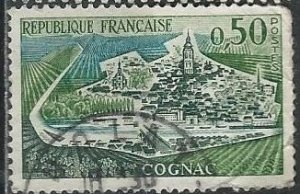 France 1010 (used, rough perfs) 50c view of Cognac (1961)