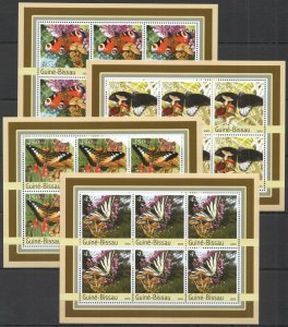 KV293 2003 GUINEA-BISSAU NEW FLORA & FAUNA BUTTERFLIES MUSHROOMS !!! 6SET MNH
