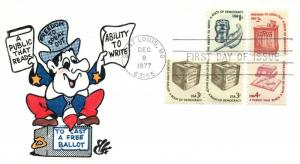 1977 Saint Louis Missouri Democracy Read Write Vote Postal First Day Cover