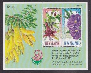 New Zealand # 1564a, CHINA '99, Flowers, Souvenir Sheet, NH, 1/2 Cat.