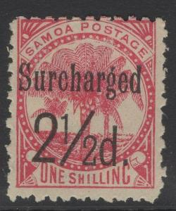 SAMOA SG86 1898 2½d on 1/= DULL ROSE-CARMINE MTD MINT