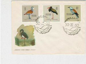 Poland 1960 Protected Birds Double Bird Slogan Cancel FDC Stamps Cover Ref 25143