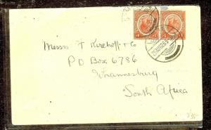 NYASALAND (P1210B) KGV 1D PR ON COVER 1926 LIMBE TO SOUTH AFRICA