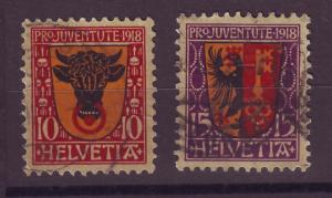J14286 JLstamps 1918 swiss used set semi #b10-11 designs $36.00 scv