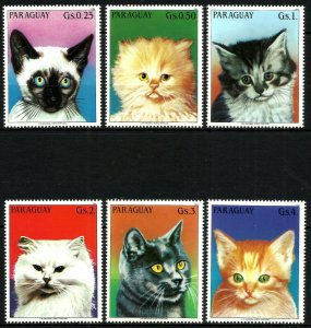 Paraguay MNH Set Of 6 Domestic Cats 1984