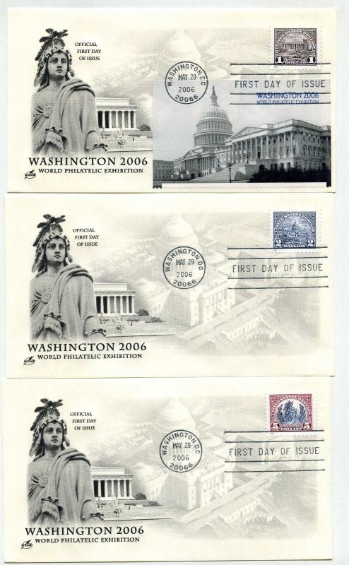 4075 Washington 2006 World Philatelic Exhibition set of 3 ArtCraft FDCs