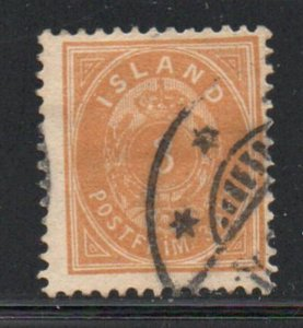 Iceland  Sc 21 1897 3 aur orange stamp used