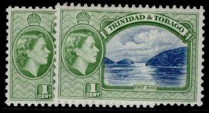TRINIDAD & TOBAGO QEII SG267 + 267a, 1c SHADE VARIETIES, VLH MINT.