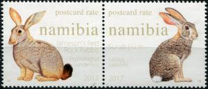 Namibia. 2017. Hares and Rabbits of Namibia (MNH OG) Block of 2 stamps