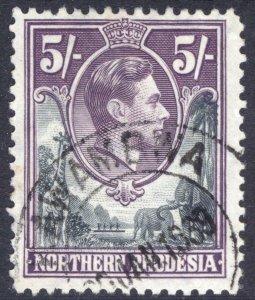 Northern Rhodesia 1938 5/- Grey & Violet SG 43 Scott 43 VFU Cat £17($25)