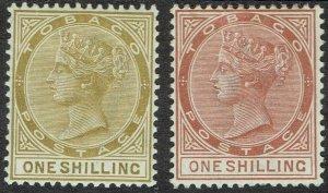 TOBAGO 1885 QV 1/- BOTH COLOURS  WMK CROWN CA