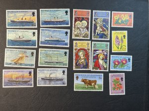 GUERNSEY # 64-80-MINT NEVER/HINGED--4 COMPLETE SETS & 2 SINGLES--1972-73