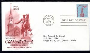US 1603 Old North Church Artcraft Red Brown Typed FDC