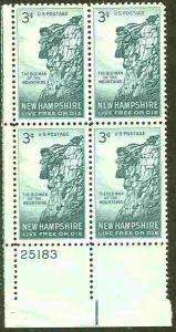 USA # 1068 New Hampshire  PB4 25183 LL (1) Mint NH