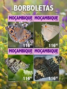 MOZAMBIQUE - 2019 - Butterflies - Perf 4v Sheet - MNH