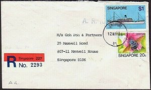 SINGAPORE 1986 Registered AR cover - snt locally...........................34842