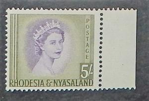 Rhodesia & Nyasaland 153. 1954-56 5/- QE, NH