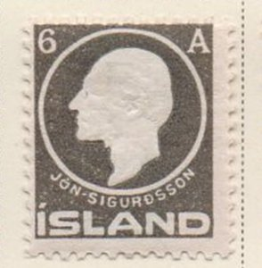 Iceland Sc 89 1911 6 aur Sigurdsson stamp mint