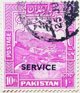 Pakistan:1948:10Rs:Rose Purple-Official Issue-(Uncommon)