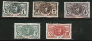 French Guinea  Scott 33-7 MH* 1906 short set CV$ 30