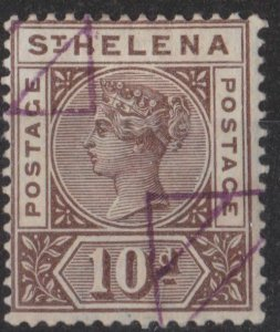 s0028) St. Helena. 1890/97 Used SG 52 10d Brown. Royalty  c£70