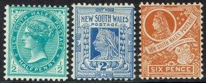 NEW SOUTH WALES 1905 QV 1/2D 2D AND 6D WMK CROWN/A