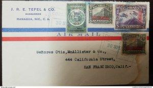 O) 1936 NICARAGUA, AIRPLANES OVER TO MOMOTOMBO OVERPRINTED READING UP OR DOWN