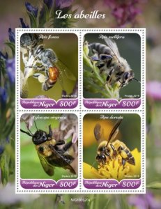 NIGER - 2019 - Bees - Perf 4v Sheet  - M N H