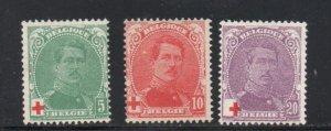 Belgium Sc B25-27 1914 King Albert I semi-postal stamp set mint