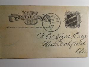 SCOTT # UX 7 USED POST CARD SPECIAL CANCEL 1884 AMAZING !!
