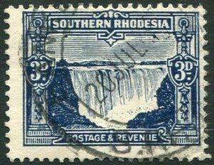 SOUTHERN RHODESIA-1931-37 3d Deep Ultramarine Sg 18 FINE USED V35949