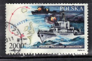 POLAND SC# 3040 **USED**  2000z  1991  SINK THE BISMARK  SEE SCAN